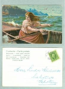 Sweden. Woman In Row Boat. Postal Used.1905. Writing On Front.