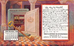 Syracuse NY~Onondaga Trust & Deposit~Bank Vault~Nov 1909~Key~ Calendar Adv PC