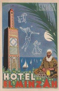 Morocco Tanger Hotel El Minzah Vintage Luggage Label lbl0444