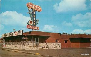 1962 Newport Oregon Anchor Restaurant Mood roadside postcard 10956