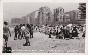 Brazil Rio De Janeiro Beach Scene Praia De Copacabana Real Photo