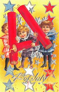 4th of July Children Playing Fire Crackers Postcard