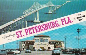 Florida St Petersburg Greetings Showing Recreation Pier and Skyway Bridge