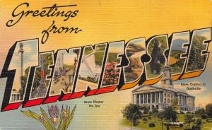 Greetings from Tennessee, Early Linen Postcard, unused