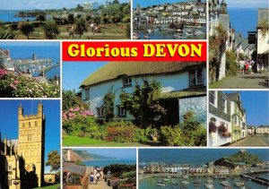 Postcard Glorious Devon Multi View, Torquay Brixham Clovelly Lynmouth Exeter 53X