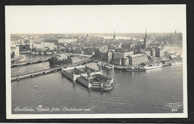 Harbor from City Hall Tower Stockholm Sweden unused c1920's