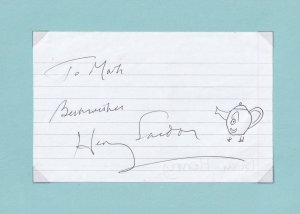 Henry Sandon Pottery BBC TV Expert Hand Signed Autograph & Kettle Drawing