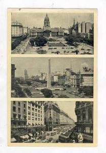 Buenos Aires, Argentina, PU 1930s, 3 view postcard