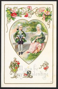 Will You Be My Valentine Old Dressed Man Lady Sitting Cupid Flowers Unused c1910