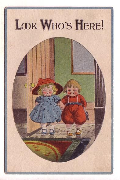 Very Cute Boy and Girl in Oval, 'Look Who's Here!', Split Ring Cancel, Fauxbo...