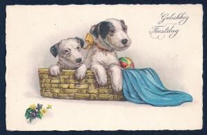 Happy Holiday Dogs in a Basket unused c1920's