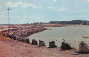 STONINGTON MAINE CAUSEWAY CONNECTING LITTLE DEER ISLE & DEER ISLE POSTCARD 1961