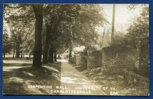 Charlottesville University Virginia va Serpentine Wall real photo postcard