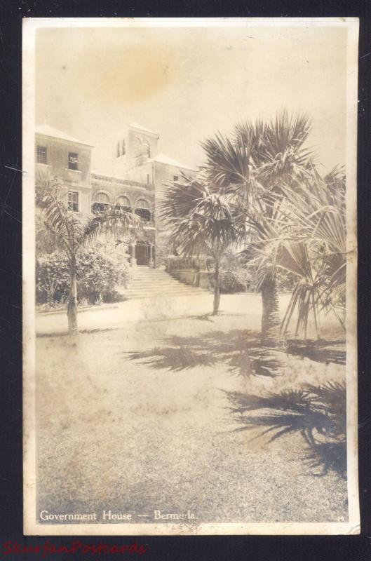 RPPC BERMUDA GOVERNMENT HOUSE VINTAGE REAL PHOTO POSTCARD HAMILTON BERMUDA