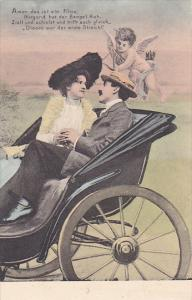 Cupid Shooting Arrow At Romantic Couple In Carriage