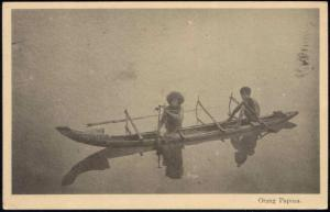Papua New Guinea, Orang Papua in Native Boat, Headhunters (1920s)