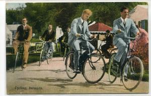 Cycling Men Cyclists Bicycle Bermuda 1932 postcard