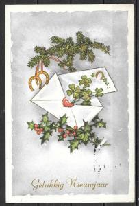 """1962 Netherlands """"Gelukkig Nieuwjaar"""", holiday greetings, mailed"""