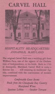 ANNAPOLIS, Maryland, 1930-1940's; Carvel Hall, Hospitality Headquarters