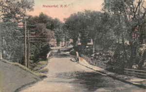 LPS82 Newmarket New Hampshire View Bridge Vintage Hand Colored Postcard