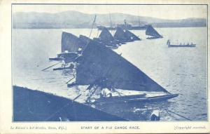 fiji islands, Start of a Fiji Canoe Race (1910s) Faivre's Art Studio