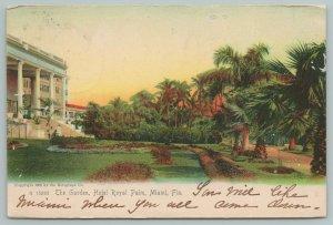 Miami Florida~The Garden At Royal Palm Hotel~Lady In White~Vintage Postcard
