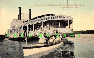 1909 Jeffersonville IN PC: Passengers Disembark from Ferry in Small Boat
