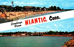 Connecticut Niantic Greetings Showing Crescent Beach Niantic Bay and Railroad...