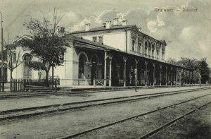 poland, GRAJEWO, Bahnhof, Railway Station (1910s) Postcard