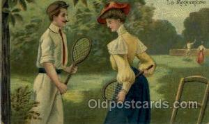 La Rencontre Tennis, Old Vintage Antique, Post Card Postcard  La Rencontre