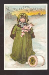 J&P COATS BEST SIX CORD THREAD SEWING ADVERTISING VICTORIAN TRADE CARD