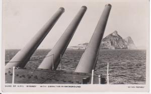 GUNS OF HMS RODNEY OFF GIBRALTAR  - BRITAIN PREPARED SERIES