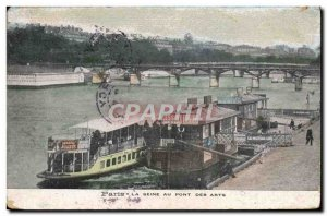 Old Postcard The Seine at Paris Boat Peniche Arts Bridge