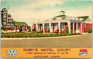 Montgomery, Alabama Postcard DOBY'S HOTEL COURT Highway 80 Roadside LINEN - 1953