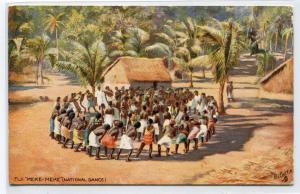 Meke Meke National Dance Fiji 1910c Tuck Oilette postcard