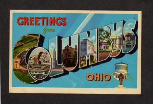OH Greetings From Columbus Ohio Large Letter Lg Postcard