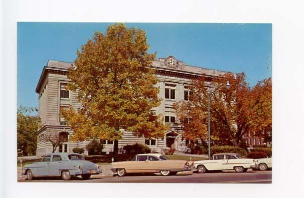 Delphi IN Street View Court House Old Cars Vintage Store Fronts Postcard