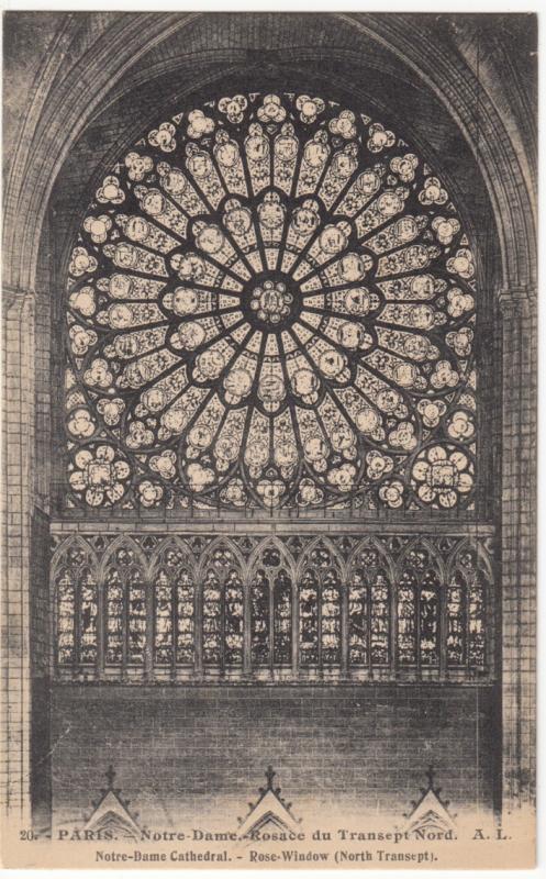France, Paris, Notre-Dame Cathedral, Rose Window, North Transept, Postcard