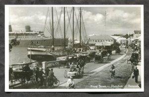 5101 - BERMUDA Hamilton 1930s Front Street Real Photo Postcard. Yacht. Ship