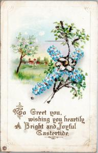 Easter Greetings - purple and silver cross with flowers - Posted Chicago 1911