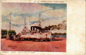 CPA AK INDOCHINA Messageries Maritimes VIETNAM (957104)