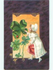 Pre-Linen New Year GIRL PAINTING SHAMROCK AB2618
