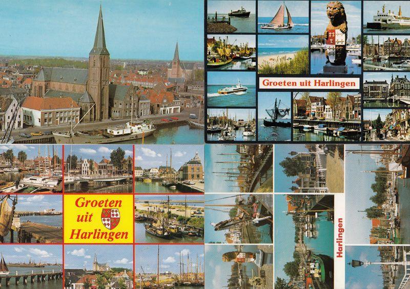 Harlingen Boats Shops Nautical 25 Small Views 4x Postcard s