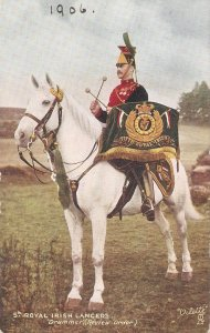 The Royal Irish Lancers .Drummer Review Order Tuck Oilette PC # 9367