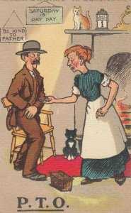 COMIC, PU-1912; P.T.O., Old Couple, Cats, Sat. April 1