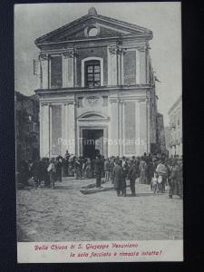 Vésuve Eruzione Del Vesuvio Église de st Giuseppe & Intact Façade 1906 Rare Pc