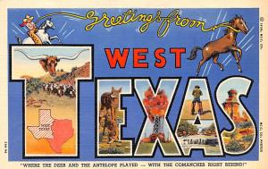 Post Card Old Vintage Antique Greetings from West Texas USA Unused