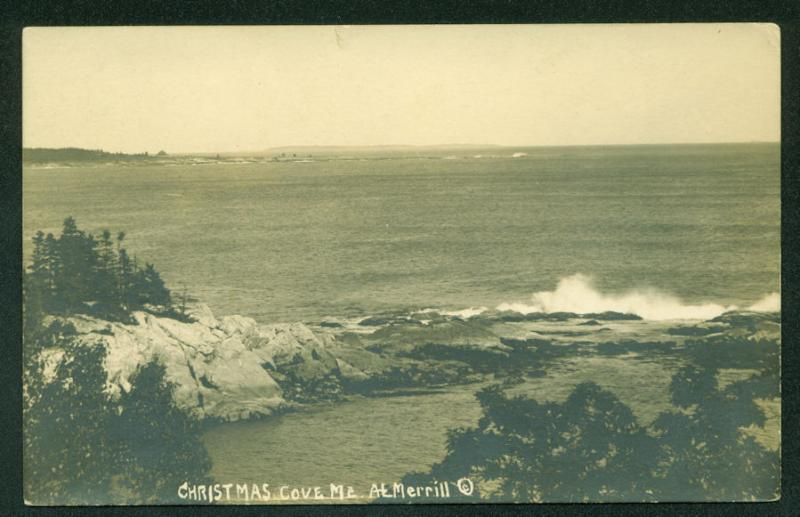 Christmas Cove 1902 MAINE COAST SCENE Real Photo Postcard RPPC