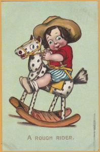 Baby on Rocking Horse A rough Rider 1909