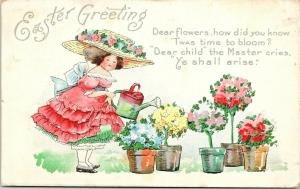 Bertha E Blodget Easter~Girl in Huge Straw Hat~Watering Can~Flower Bushes~AMP